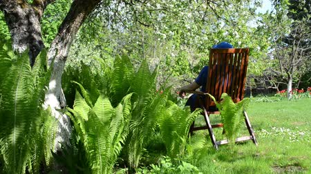 quintal : Tired gardener worker man with cap sit on wooden chair near fern plant leaves and blooming apple fruit trees in spring garden. Vídeos