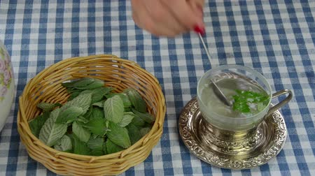 melisa : Woman hand with varnish nails pour hot water on fresh mint plant herb leaves in cup. Healthy herbal tea prepare. Stok Video