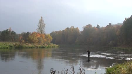 waders : panoramic view of the river autumn day a fisherman standing wide in the river near the shore fishing Stock Footage
