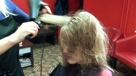 darbe : closeup hairdresser barber blow dry customer woman hair in barber salon. Beauty industry. Stok Video