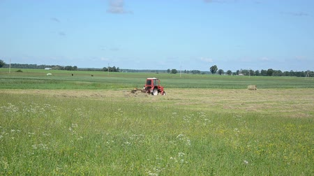 долина : Red tractor ted hay drying grass in agriculture field. Preparing feed for animals.