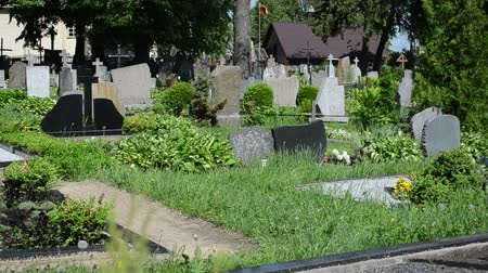 могила : rural graveyard cemetery and lot of monuments grave tomb stones panorama. Death smell.
