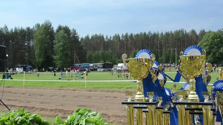 sampiyonlar : steeplechase horse racing cups awards prepared for winners. Rider competition for champion prize.
