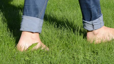 boso : Bare foot woman with tucked jeans walk on early morning dewy wet meadow lawn grass.