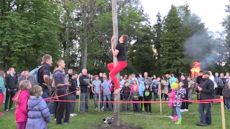 kazık : BIRZAI, LITHUANIA - JUNE 23, 2014: tilt up of young guy climb high stake to reach prize and crowd people on June 23, 2014 in Birzai, Lithuania. Tripod. Rural community entertainment.