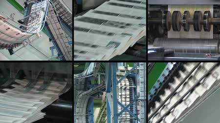 production tool : Newspapers printing technology. Machine printing daily press. Produce paper press. Montage of different video footage clips collage. Split screen. Black round corner frame. Full HD 1080p.
