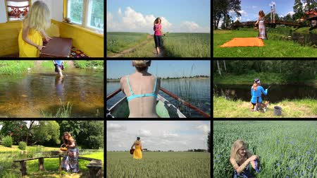 peygamberçiçeği : Happy woman spend holidays in nature. Active leisure. Montage of video footage clips collage. Split screen. Black angular frame. 4K UHDTV 2160p