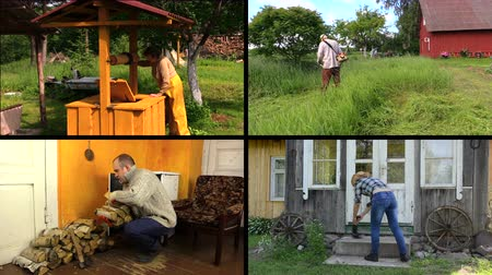 cur : Senior woman draw water from well. Gardener cur grass. Man carry firewood. Girl broom stair. Montage of video footage clips collage. Split screen. Black angular frame. 4K UHDTV 2160p