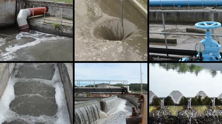 лечение : Sewage waste water treatment plant. Hole flow. Blue stopcock valve and pipes. Water sedimentation and filtration. Montage of video clips collage. Split screen. Black angular frame. Full HD 1080p. Стоковые видеозаписи