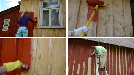 ručně malovaná : Woman and man on ladder paint wooden house. Hand with roller brush paint wall. Family couple color house. Montage of video footage clips collage. Split screen. White angular frame. 4K UHD 2160p
