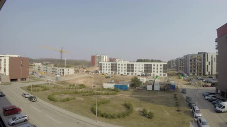 image house : construction site and new build home in urban place. 4K UHD timelapse video clip.