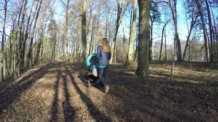 sáně : Girl push blue baby carriage through deciduous forest path covered with leaves in sunny spring day. Healthy leisure in fresh air. Wide angle shot. 4K UHD.
