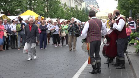 wallow : BELMONTAS, LITHUANIA - JUNE 20, 2015: citizen people enjoy charismatic folklore band performance at street on June 20, 2015 in Belmontas, Lithuania. Static shot. 4K Stock Footage