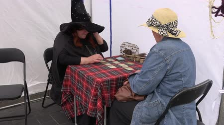 astrologer : BELMONTAS, LITHUANIA - JUNE 20, 2015: witch woman with hat read tarot cards about future life for client woman and rat in cage on June 20, 2015 in Belmontas, Lithuania. Static shot. 4K
