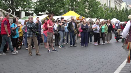 wallow : BELMONTAS, LITHUANIA - JUNE 20, 2015: citizen tourist people clap hands and dance in charismatic folklore band guys concert at street fair on June 20, 2015 in Belmontas, Lithuania. Panorama shot. 4K Stock Footage