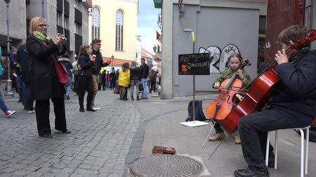 sulky : VILNIUS, LITHUANIA - MAY 16, 2015: Young children boy brother and girl sister play with violoncello instrument in outdoor concert on May 16, 2015 in Vilnius, Lithuania. Static. Street music day. 4K Stock Footage