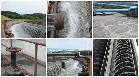 bitki : Waterworks. Sewage waste water treatment plant. Water sedimentation and filtration. Montage of video clips collage. Split screen. White round corner frame. Full HD 1080p. Stok Video