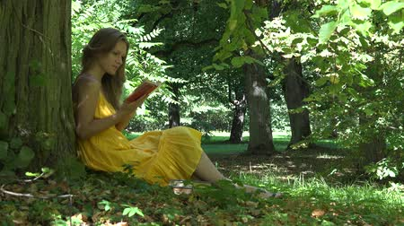 spent : Girl spent her holiday reading novel comedy book under old tree in park. Static shot. 4K