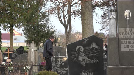 söyleme : SIRVINTOS, LITHUANIA - NOVEMBER 01, 2015: Cemetery, memory on people who have died on November 01, 2015 in Sirvintos, Lithuania. Family members visiting graveyard. Panorama shot. 4K