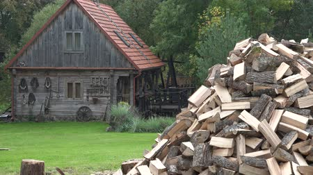 wood : big firewood pile near the old wooden country house with rural vintage attributes near green forest. 4K UHD video clip. Stock Footage