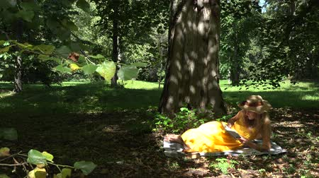 yelow : attractive girl with yelow dress resting in the park with book on plaid. Freetime at summer time outdoor. 4K UHD video clip.