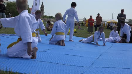 tanítvány : VILNIUS, LITHUANIA - JUNE 07, 2015: Young karate kids train self protection exercises in front of people audience on June 07, 2015 in Vilnius, Lithuania. Static shot. 4K