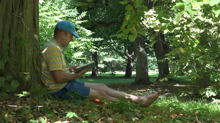 spent : Man spent his holiday time reading novel book under old tree in park. 4K