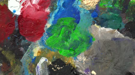 expressionism : Paint palette color detail. Turntable Stock Footage