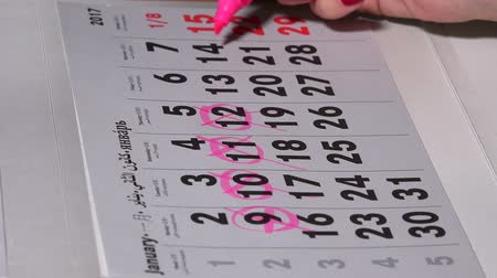 календарь : Female hand planning working days with pink marker on calendar