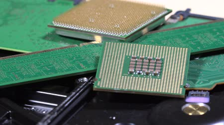 hard drive processor and ram memory. Computer components stack Stock Footage