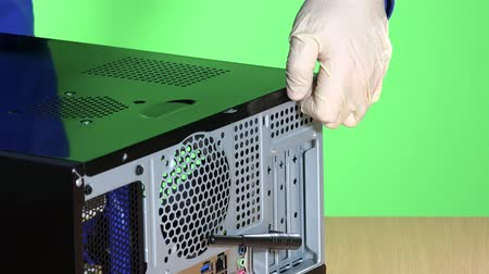technician hands open computer case cover. pc repair concept Stock Footage