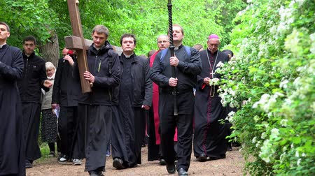 cassock : young priest procession carry cross with believing people pilgrim pray