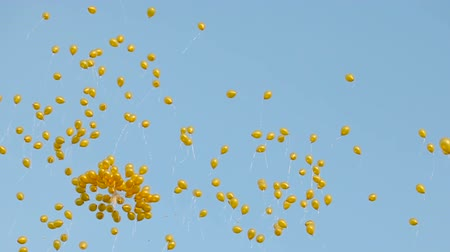 blue and yellow : yellow balloons fly Stock Footage