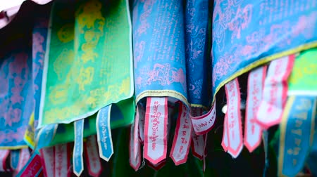 bodhnath : colourful flags with Buddhist mantras Stock Footage