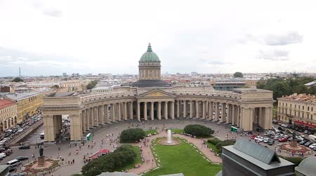 kazanskiy : Kazan Cathedral in Saint-Petersburg from the height of the front , shot from the roof of the opposite building
