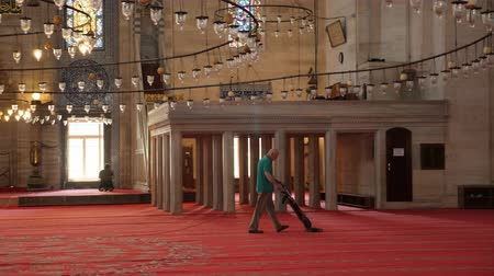 pštros : Turkey, Istanbul - 5 June 2019: worker man vacuuming the red carpet in a big in the structure of the Suleymaniye Mosque on June 5, 2019 Dostupné videozáznamy