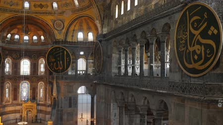 ottoman : Turkey, Istanbul - 5 June 2019: interior design the interior of the old mosque of Hagia Sophia on June 5, 2019