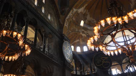 mesquita : Turkey, Istanbul - 5 June 2019: interior design the interior of the old mosque of Hagia Sophia on June 5, 2019