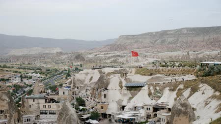 Turkey, Cappadocia - 7 June 2019: morning view from above on small town in the rocks Goreme on Cappadocia June 7, 2019
