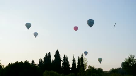 globos : Turkey, Pamukkale - 12 June 2019: Hot air colorful balloon fly over the white limestone mountains in the morning on a warm summer day June 12, 2019 Archivo de Video