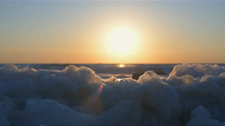 bionomics : The natural white foam on the shore of the Black Sea. Stock Footage