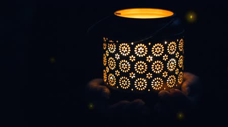 lights up : Cinemagraph - Female hands holding lantern with magical lights of fireflies at night. Concept of romance. Motion Photo.