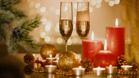 servido : Christmas and New Year holiday setting with champagne. Celebration. Holiday Decorations. Stock Footage