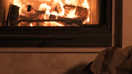 Looking image of travelling concept. Background of fireplace. Dostupné videozáznamy