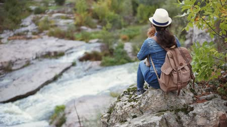 Woman traveler with backpack holding dog and looking at natural canyon with view of the mountain river.