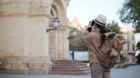 dinlenmek : Woman traveler with backpack holding dog examines architectural monument. Stok Video