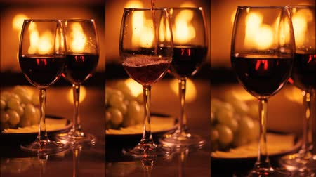 Vertical videos of two wine wineglasses over fireplace background.