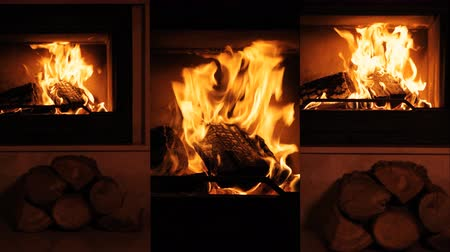 Vertical videos. Fireplace. Slow motion. Wideo