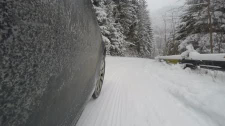обмотка : Car is driving on a winter road, through forest Стоковые видеозаписи