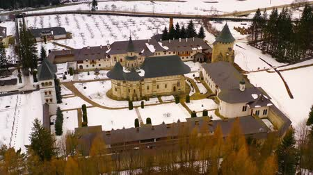 Aerial view of Putna medieval orthodox monastery. One of the most important romanian monastery, Putna. (Unesco Heritage). The monastery was built and dedicated by Stephen the Great Dostupné videozáznamy